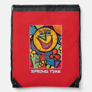 Spring Time - Red  -Time  Pieces Drawstring Bag