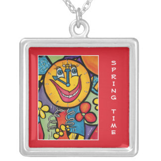 Spring Time - Time Pieces Bright Colors Silver Plated Necklace