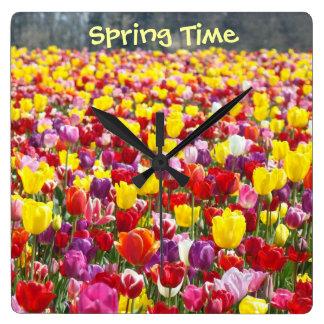 Spring Time wall clocks Decorative Tulip Flowers