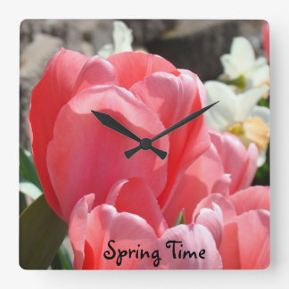 Spring Time wall clocks Pink Tuli Flowers gifts