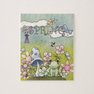 Spring time with animals and flowers puzzle