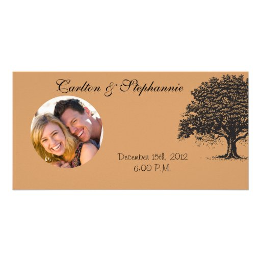 Spring Tree Brown/Black Wedding Photo Announcement Photo Card