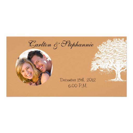 Spring Tree Brown/Black Wedding Photo Announcement Custom Photo Card