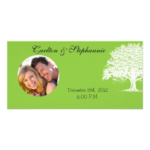 Spring Tree Green/Black Wedding Photo Announcement Photo Card Template