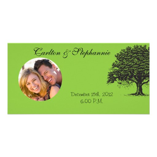 Spring Tree Green/Black Wedding Photo Announcement Photo Greeting Card