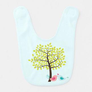 Spring Tree & Kissing Love Bird Whimsical Baby Bib