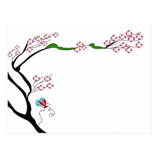 Spring tree on a postcard