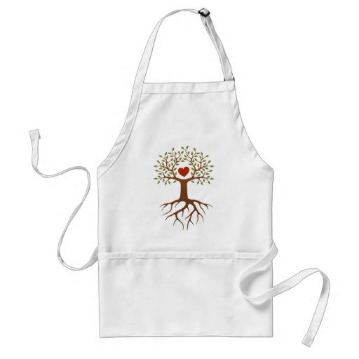 Spring tree with heart and roots aprons