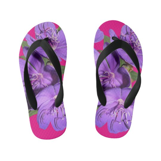 Spring Tropical Purple Flower flip flops