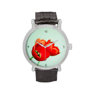 Spring tulip red floral mint green elegant wristwatches