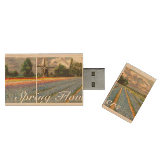Spring Tulip Time Flowers Fields Triptych Fine Art Wood USB 2.0 Flash Drive