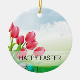 Spring Tulips and Easter Eggs Ceramic Ornament