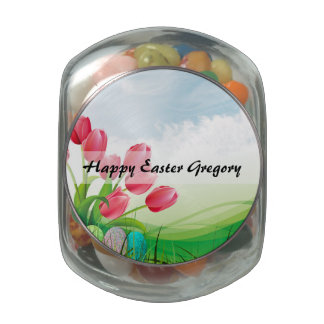 Spring Tulips and Easter Eggs Glass Jar
