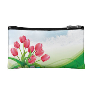 Spring Tulips and Easter Eggs Makeup Bag