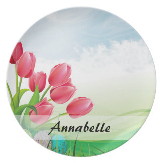 Spring Tulips and Easter Eggs Plate