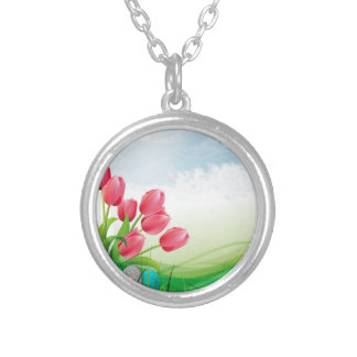 Spring Tulips and Easter Eggs Silver Plated Necklace
