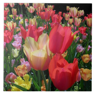 Spring Tulips Large Square Tile