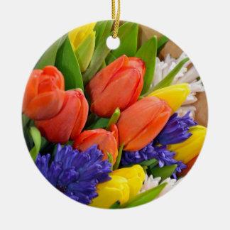Spring tulips print christmas ornament