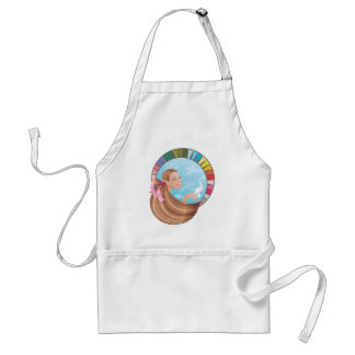 Spring type girl with palette apron