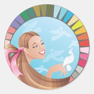Spring type girl with palette round sticker