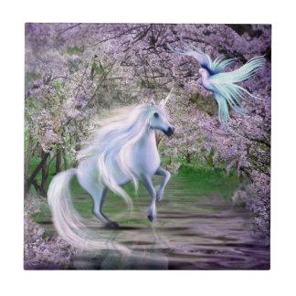 Spring Unicorn fantasy Small Square Tile