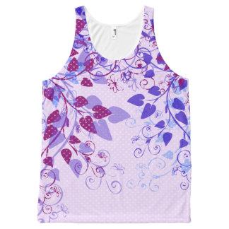 Spring Violet Floral All-Over Print Tank Top