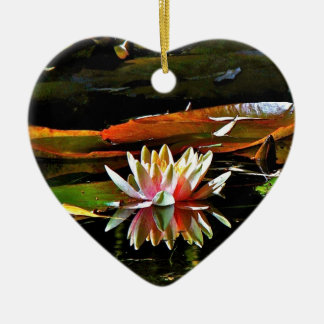 SPRING WATER LILY IN A POND CERAMIC ORNAMENT