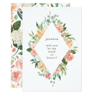 Spring Watercolor Floral Diamond Maid of Honor Card