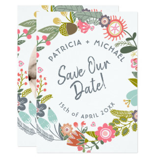 Spring wedding meadow blooms photo save date card