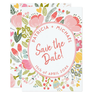 Spring wedding meadow blooms save the date card