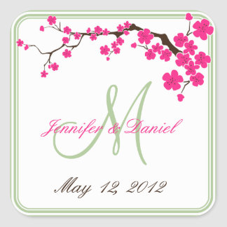 Spring Wedding Summer Wedding Monogram Favor Label Square Sticker