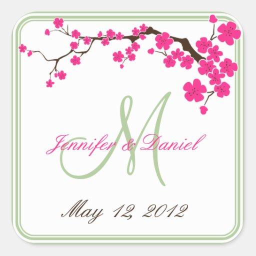 Spring Wedding Summer Wedding Monogram Favor Label Stickers