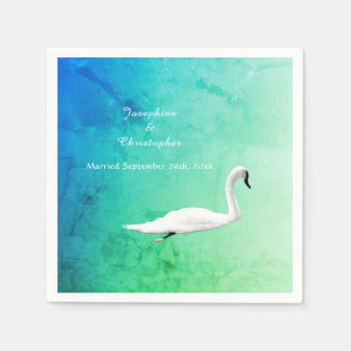 Spring Wedding with Swan Paper Napkin
