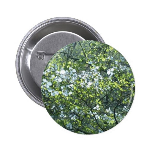 spring white dogwood flowers pinback button