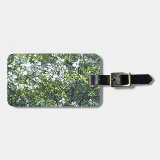spring white dogwood flowers travel bag tag