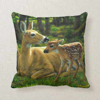 Spring Whitetail Fawn and Mother Deer Cushion