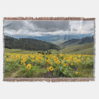 Spring Wildflowers In The Hills Throw Blanket