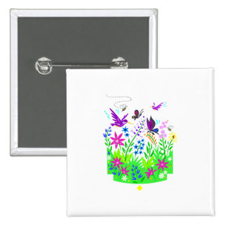 Spring Wildlife Scene 15 Cm Square Badge