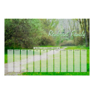 Spring Woods Path Family Special Days Calendar Poster