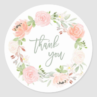 Spring Wreath | Watercolor Floral Wedding Classic Round Sticker