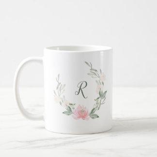 Spring Wreath | Watercolor Floral with Monogram Coffee Mug
