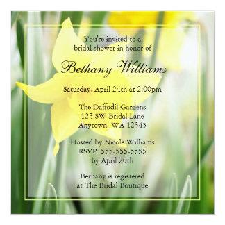 Spring Yellow Daffodil Flowers Bridal Shower 13 Cm X 13 Cm Square Invitation Card