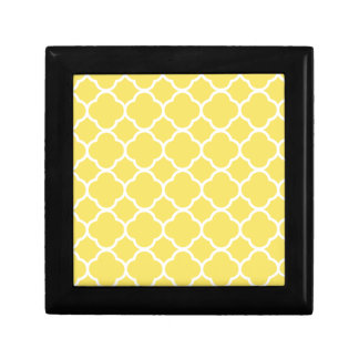 Spring Yellow Quatrefoil Small Square Gift Box