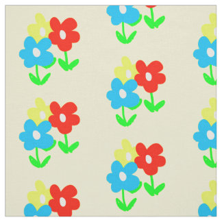 Spring yellow red blue flowers artwork