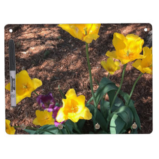 Spring yellow tulip type flowers dry erase board with key ring holder