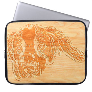 Springer Puppy Wooden Carving Effect Laptop Sleeve