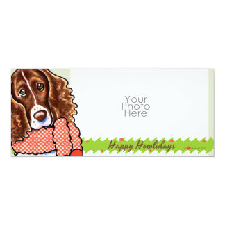 Springer Spaniel Happy Howlidays Photo Greeting 4x9.25 Paper Invitation Card