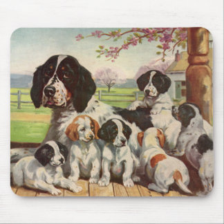 Springer spaniel mom and puppies mouse pad