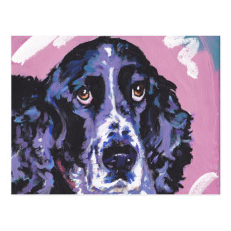 springer spaniel pop dog art postcard