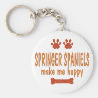 Springer Spaniels Make Me Happy Basic Round Button Key Ring